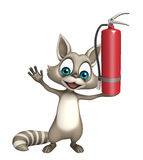 Fun Raccoon cartoon character with fire extinguisher. 3d rendered illustration of Raccoon cartoon character with fire extinguisher Stock Images