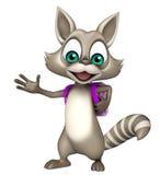 Fun Raccoon cartoon character with school bag Royalty Free Stock Image