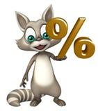 Fun Raccoon cartoon character with % sign Royalty Free Stock Photo
