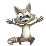 Fun Raccoon cartoon character sitting Royalty Free Stock Photography