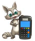 Fun Raccoon cartoon character with swipe machine Stock Photos