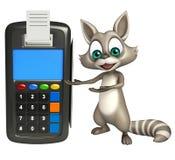 Fun Raccoon cartoon character with swipe machine Stock Image