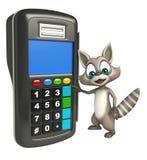 Fun Raccoon cartoon character with swipe machine Stock Photo