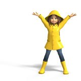 Fun in rain. Cute litte toon girl has fun in rain. with clipping path and shadow over white stock illustration