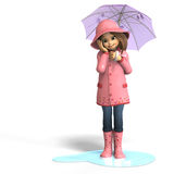 Fun in rain. Cute litte toon girl has fun in rain. with clipping path and shadow over white Stock Photography
