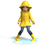 Fun in rain. Cute litte toon girl has fun in rain. with clipping path and shadow over white Royalty Free Stock Photography
