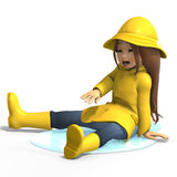 Fun in rain. Cute litte toon girl has fun in rain. with clipping path and shadow over white Stock Images