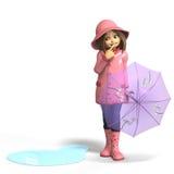 Fun in rain. Cute litte toon girl has fun in rain. with clipping path and shadow over white Stock Photos