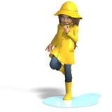 Fun in rain. Cute litte toon girl has fun in rain. with clipping path and shadow over white Royalty Free Stock Image