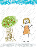 Fun in the rain royalty free illustration