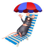 Fun  Rat cartoon character  with beach chair Stock Photo