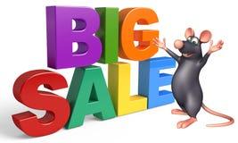 fun Rat cartoon character with  bigsale sign Royalty Free Stock Photos