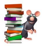 Fun  Rat cartoon character with books Stock Image