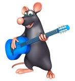 fun  Rat cartoon character  with guitar Stock Image