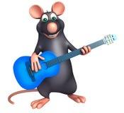 fun  Rat cartoon character  with guitar Royalty Free Stock Photo