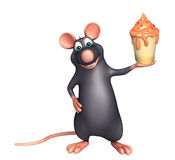 fun Rat cartoon character with ice-cream Stock Image