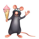 fun Rat cartoon character with ice-cream Royalty Free Stock Photography