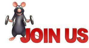 fun Rat cartoon character with join us sign Stock Image