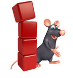 Fun  Rat cartoon character with level. 3d rendered illustration of Rat cartoon character with level Stock Photo