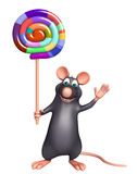 Fun  Rat cartoon character with lollypop Royalty Free Stock Photography