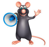 Fun  Rat cartoon character with loud speaker Stock Images
