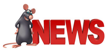 fun Rat cartoon character with news sign Royalty Free Stock Photos