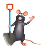 fun  Rat cartoon character with shovel Royalty Free Stock Photography