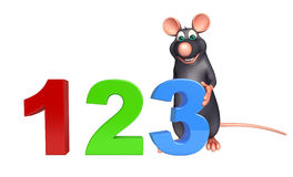Fun Rat cartoon character with 123 sign. 3d rendered illustration of Rat cartoon character with 123 sign royalty free illustration