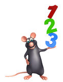Fun Rat cartoon character with 123 sign. 3d rendered illustration of Rat cartoon character with 123 sign stock illustration