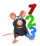 Fun  Rat cartoon character with 123 sign Royalty Free Stock Image