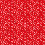 Fun red and white hand drawn hearts and hugs and kisses geometric vector pattern on vibrant red background royalty free illustration