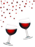 Fun red wine, glasses isolated on white background. Stock Photography