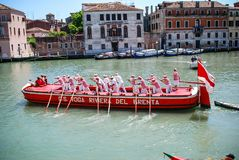 Gondeliers competing in the Regata Storica, Venice, Italy stock images