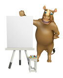 Fun Rhino cartoon character with easel board Royalty Free Stock Images