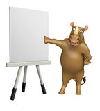 Fun Rhino cartoon character with easel board Stock Photo
