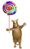 Fun Rhino cartoon character with lollypop Royalty Free Stock Photo
