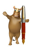Fun Rhino cartoon character with pen Stock Photography