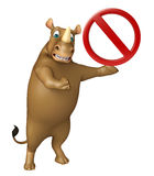 Fun Rhino cartoon character stop sign Royalty Free Stock Photo