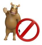 Fun Rhino cartoon character stop sign Stock Image