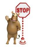 Fun Rhino cartoon character stop sign Stock Photography