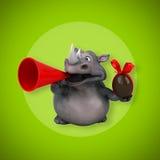 Fun rhinoceros - 3D Illustration Stock Image