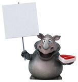 Fun rhinoceros - 3D Illustration Stock Images