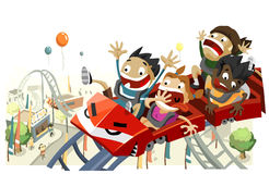 Fun with Roller Coaster. Copy space on top, very detailed illustration Stock Images