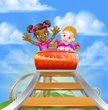 Fun Roller Coaster Kids Stock Photos