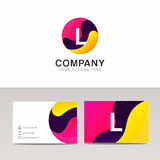 Fun round L letter logo sign. Abstract circle shape icon vector Stock Photography
