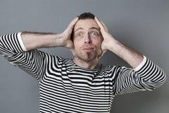 Fun 40s man expressing surprise Stock Image