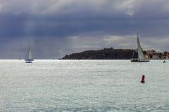 Fun Sailing in St. Maarten, Caribbean royalty free stock photos