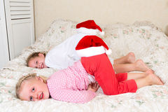 Fun with santa hats Royalty Free Stock Photography