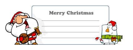 FUN santa musician + snowman - greeting card Royalty Free Stock Photography