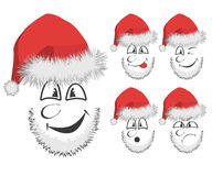 Fun Santa's faces Stock Photography